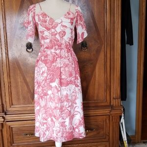 Ann Taylor Loft Red floral and white dress Size S